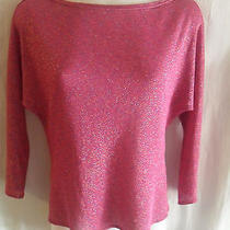 Trina Turk Pink Sparkle See Through Slit Sides Long Sleeve Top Shirt Blouse S  Photo