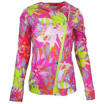 Trina Turk Recreation Womens Pink Multi Orchid Print Athletic Jacket M New Photo