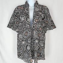 Trina Turk Shirt Tunic Top Silk Blend Brown Black White Print Boho Size Medium Photo