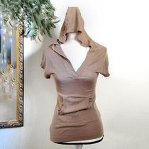 Trina Turk Silk Blend Hoodie Pocket Tee Kangaroo Pullover Womens Tan Top Photo