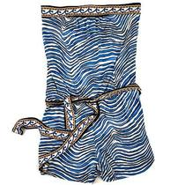 Trina Turk Silk Blend Romper Blue Zebra Striped Tie Belt Size P 0 Slip on Style  Photo