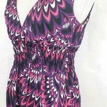 Trina Turk Silk Ruched Feather Pattern v Neck Pink Purple Womens Small Top Photo