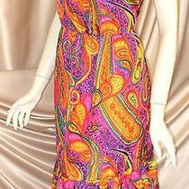 Trina Turk Silk Strapless Dress Small Medium Large Xl Retro 1970s Excellent Mint Photo