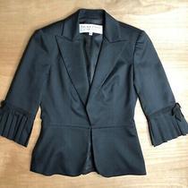 Trina Turk Size 4 Black 3/4 Sleeve Pleated Sleeve Blazer Jacket Size 4 Photo
