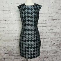 Trina Turk Size 4 Black Teal Houndstooth Jacquard Sheath Dress Career Casual  Photo