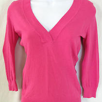 Trina Turk Size S Pink 3/4 Sleeve Fitted v Neck Pullover Sweater Photo
