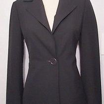 Trina Turk Solid Black Single Button Fluted Split Cuff Lined Fitted Blazer Sz 4 Photo