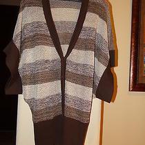 Trina Turk Sweater Brown Stripe Open Knit Dolman Sleeve Cardigan- Approx Size Photo