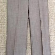 Trina Turk Sz 4 Smooth Brown Melange Crepe Flat Front Wide Cuff Ankle Pant Mint Photo