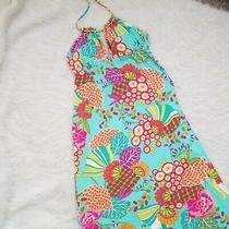 Trina Turk Tokyo Bay Aqua Maxi Dress Cover Up S Turquoise Floral Seascape Photo