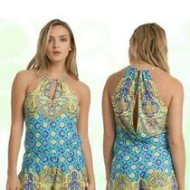 Trina Turk Turquoise Corsica Print Romper Cover Up Size M Photo