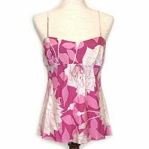 Trina Turk Women's 100% Silk Spaghetti Strap Pink Tropical Print Top Sz Med Photo
