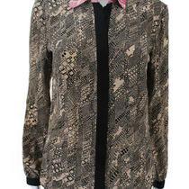 Trina Turk Women's Button Down Long Sleeve Top Silk Beige Black Pink Size Small Photo