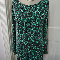 Trina Turk  Women's Size M  Turquoise & Black Stained Glass Print Knit Dress Photo