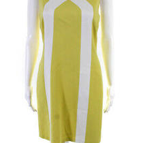 Trina Turk Womens Crew Neck Sleeveless Shift Dress Yellow White Size 6 Photo