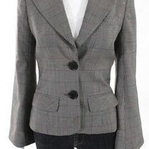 Trina Turk Womens Long Sleeve Plaid Houndstooth Print Blazer Jacket Black Size 2 Photo