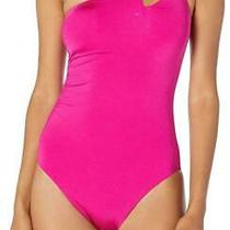 Trina Turk Womens Swimwear Pink One-Shoulder Cutout One-Piece Bathing Suit 12 Photo