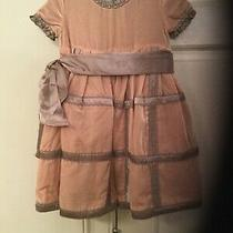 Trish Scully Velvet Blush and Gray Dress With Pearl Lined Trim 18 Mo Photo