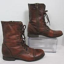Troopa by Steve Madden Leather Military Combat Fashion Brown Boots Sz 10m Guc Photo