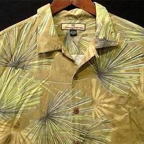 Tropical Authentic Tommy Bahama Hawaiian Shirt 100% Silk Palm Leaves L Large Photo