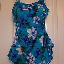Tropical Floral One-Piece Sarong Swimsuit by Maxine of Hollywood Sz 16 Photo