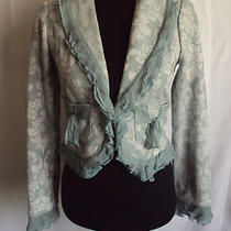 True Meaning Ladies Short Aqua Green & Ivory Brocade Jacket Size Us 4 Photo