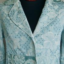 True Meaning Rockabilly Vintage 50s Blue Polka Dot Brocade Rhinestone Car Coat 4 Photo