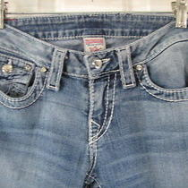 True Religion 28 Size 4 Disco Joey Big T Crystals Med Faded Blue Wash Boot Cut Photo