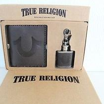 True Religion Bifold Leather Wallet With Mini Flask Gift Set 85 Bn in Gift Box Photo