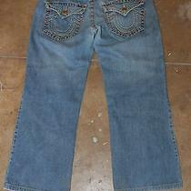 True Religion Billy Super T Medium Loose Straight Row 36 Seat 34 Actual 38x29 Photo