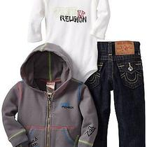 True Religion Brand Jeans Baby Infant Hoodie  Jean 3 Piece Box Set-12-18 Months Photo