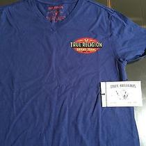 True Religion Brand Jeans Mens Blue True Electric v-Neck T-Shirt Sz M Reg. 62 Photo