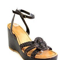 True Religion Brown Leather Woven Strappy Ankle Wedge Sandals Sz 9.5 Photo