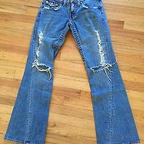True Religion Destroyed 803 Light Wash Flare Leg Jeans Row 28 Seat 33 Photo