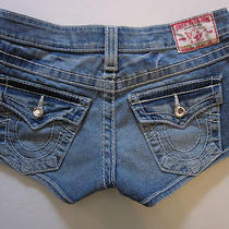 True Religion Disco Josie Big T Jeans Denim Shorts Size 25 Photo