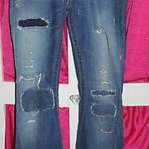 True Religion Distressed Patch Flare Unique Rare Twisted Leg Jeans Sz 27 Wc-14 Photo
