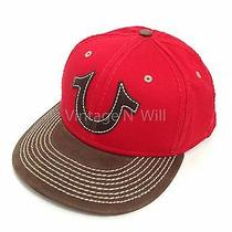 True Religion Jeans Red Brown Leather Logo Patch Trim Baseball Trucker Cap Hat Photo
