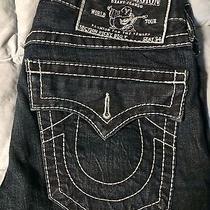 True Religion Jeans Ricky Big T Row 31 Seat 34 31/34 Light Blue Stitching Photo