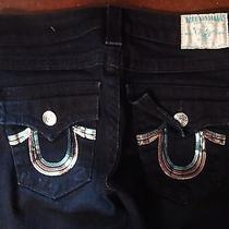 True Religion Jeans Size 25 Colorful Sequin Section Row Seat Billy Dark Wash Photo