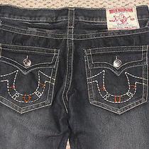 True Religion Joey Big T Dark Blue Denim Jeans Size Seat 36 X Row 32 Euc  Photo