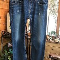 True Religion Mens Blue Jeans Ricky Usa 112790 Distressed Studded 42-32.5 New Photo