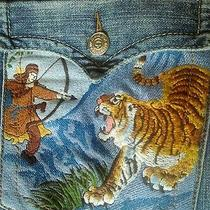 True Religion Men's Jeans Billy Row 38 Seat 34 Tiger and Warrior Pocket Photo