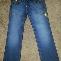 True Religion Mens 31 World Tour Ricky Seat 34 Studded Straight Leg Blue Jeans Photo