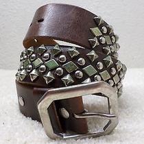 True Religion Mens Belt Se 36 Heavy Embellished Studded Premium Leather Brown Photo