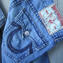 True Religion Mens Rainbow Ricky Seat 34 Size 32 Straight Distressed - Excellent Photo