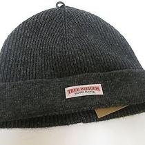 True Religion Mens Winter Knit Black/dark Gray Beanie Hat Wool One Size Nwt    Photo