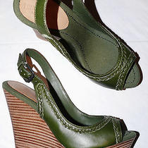 True Religion New Sz 8 M Green Leather Wedges Platforms Open Toe Sandals 5