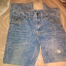 True Religion Ricky Flap Distress Blue Jeans Size  38 Photo