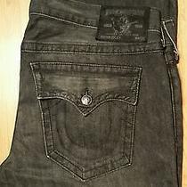 True Religion Ricky Straight Leg Jeans Black Gray Charcoal Sz 40 X Seat 34 Photo
