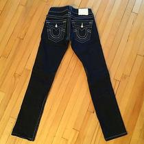 True Religion Skinny Jean Straight Cut Petite 23 24 Mother of Pearl Button Photo